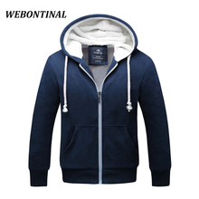 WEBONTINAL Winter Hoodie Male Cardigan 2017 Hombre Brand ZipperThick Sweatshirt Men Hoodies Quality Velvet Hoody Mens Hooded(China)