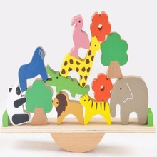 [Fly AC] Baby Toys Educational Lion Elephant Giraffe Giant Panda Balancing Blocks Wooden Toys Balance Game Montessori Blocks Toy