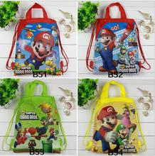 Lot Of 12pcs Super Mario Bros Cartoon Birthday Party Supplies Gift Bag Non-Woven Fabric Drawstring Backpacks Halloween bags