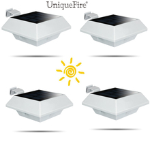 Uniquefire 4 Packs ! New version  White Color Solar Powered 6 LEDs Outdoor Light For Garden Landscape Lawn Fence,Home,Gutter