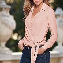 2017 OL Lady Women Imitated Silk Blouse Casual Long Sleeve V Neck Tie Knot Shirt Loose Casual Blouse Tops Blusas Plus Size