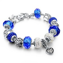 Hot sell! Purple,Blue,Red,Green,Champagne Color Rhinestone DIY Beads Heart Shape Fit Original Charm Bracelets For Women Jewelry(China)