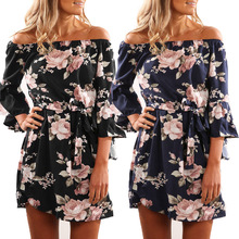 Buy SHIBEVER Summer Women Print Dress Boho Beach Party Short Dress Sexy Flare Sleeve Sundress Female Vintage Casual Mini Dress LD724 for $8.20 in AliExpress store