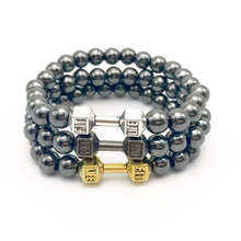 20 pcs /lot  Hot Sale 8mm No Magnetic Hematite Beads with Alloy Metal Fitness Dumbbell Bracelets,Barbell Charm Men Bracelet