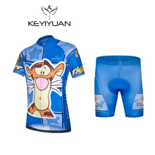 2017 KEYIYUAN Kids Bike Clothing Tigger Summer Children Blue Cycling Jersey Shorts Padded Road Bicycle Sportwear Bike Jersey Set