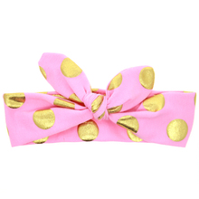 Gold Polka Dots Headband Cotton Knot Elasticity Headwear Disassemble&Tie a Knot Kids Girls Hair Accessories KT022(China)