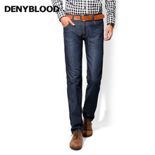 Denyblood Jeans Darked Wash Jeans Mens Blue Black Cotton Denim Straight Fit Classic Stylish Casual Pants Male Trousers 858(China)