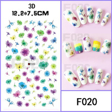 10pcs/lot The latest Japanese nail art 3D adhesive Ultra-thin 3d nail stickers new Japanese fantasy flowers nail manicure decal