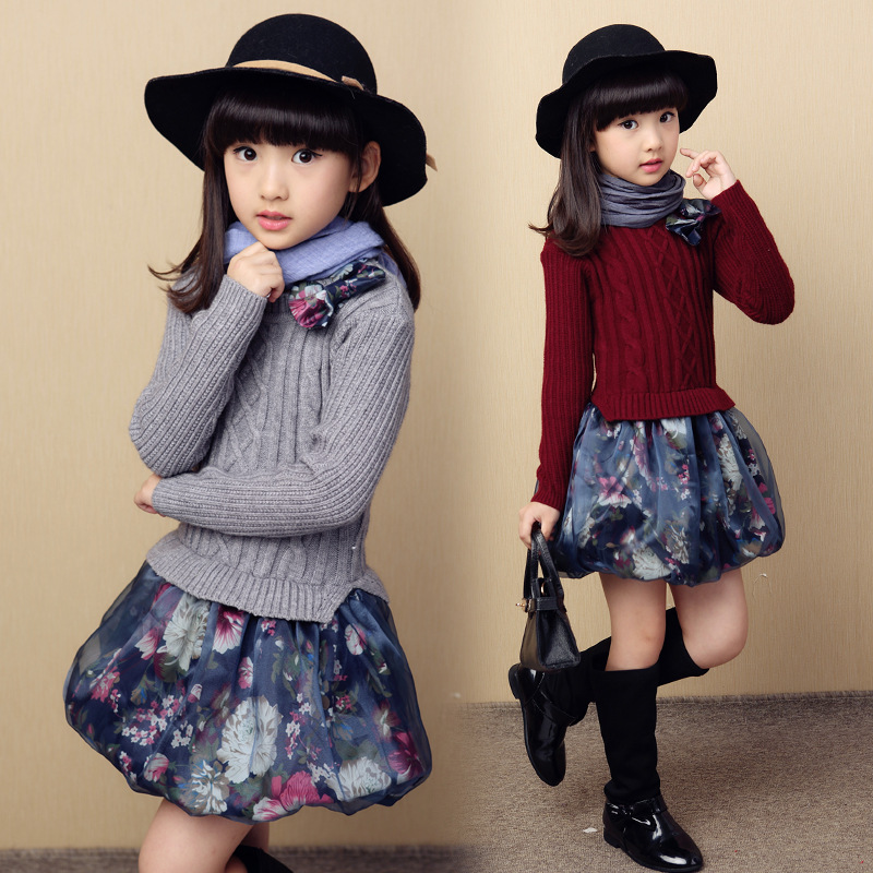 2017 New Kids Girls Floral Print Sweater Dress Long Sleeve Winter Warm Chidlren A-Line Dresses Teenage Knitwear Autumn Clothing<br>