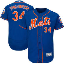 MLB Men's New York Mets Noah Syndergaard Baseball Royal/Orange 2017 Alternate Authentic Collection Flex Base Jersey(China)