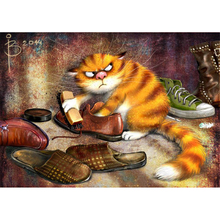 "Full Square Drill 5D DIY Diamond Painting ""Wipe Leather Shoes Cat"" 3D Embroidery Cross Stitch Mosaic Rhinestone Decor Gift(China)"