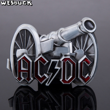 WesBuck Brand Classic 3D Cannon AC DC ACDC Logo Rock Band Punk Music Style Boys Mens Metal Belt Buckle For 4cm Wide Belt(China)
