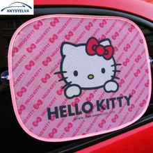 KKYSYELVA 2PCS Hello Kitty Sun shade window Screen Visors Car Truck Accessories Car Side Window Sunshade Auto Windshield cover(China)