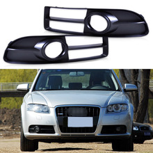 Car Grilles for Audi A4 Quattro A4 S4 B7 2005 2006 2007 2008 2 PCS New Black Front Bumper Fog Light Lamp Grille