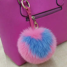 Real fox fur keychain red  fox fur backpack shoulder bag Pom Poms charm round pendant Valentine heart-shaped creative key chains