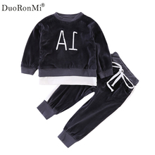 Baby Boys Gold Velvet Suit 2017 New Autumn Children Baby Casual Long Sleeve Sweatshirt+Pants 2pcs Outwear Sports Set