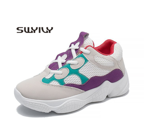 SWYIVY Summer Casual Sneakers Flat Female 2019 Spring New Net Thick Waterproof Platform Student Wild Fashion Women
