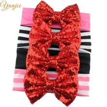4pcs/lot 2018 Trendy Valentine's Solid Sequins Bow Lace Girls' Elastic Headband DIY Headwrap For Kids Bandeau Bandana Headwear(China)