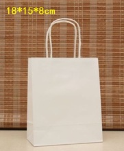 40PCS Elegant White Paper gift bag Small size Kraft gift bags with handle Excellent Quality 18x15x8cm Wholesale(China)