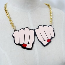 Fashion Hip Hop Club Jewelry Accessories Personality Acrylic Fist Women Choker Necklace
