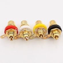 Free shipping 4 Colour Gold Plated RCA socket RCA connector 8pcs/lot