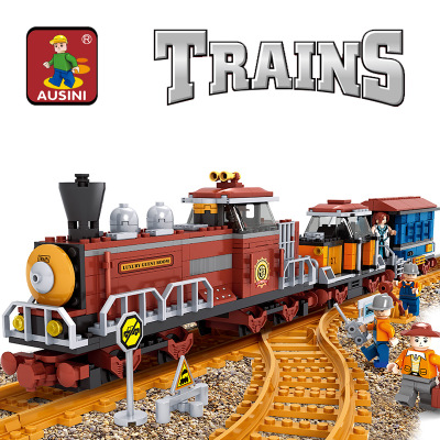 Model building kits compatible with lego trains rails 234 3D blocks Educational model building toys hobbies for children<br>