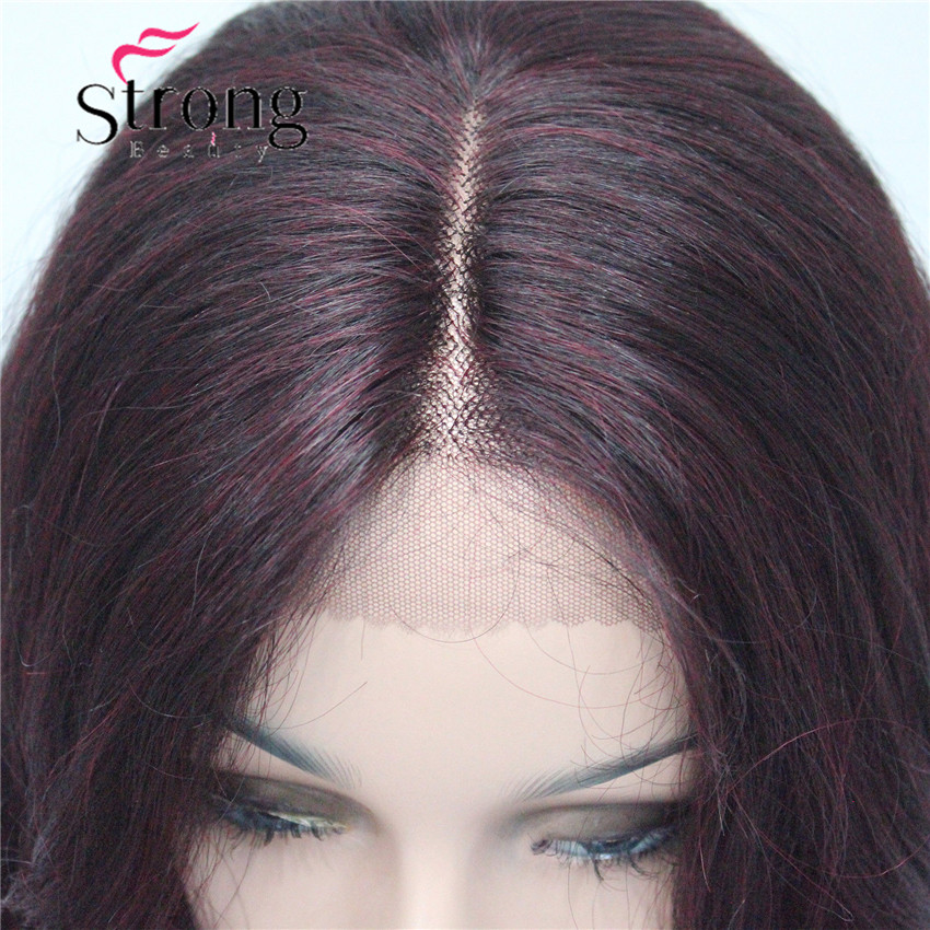 HHG-9126 #T1B-99T Lace Front Wig Quality Heat Ok Synthetic Off Black Mix Deep Purple Wavy Long Wig (5)