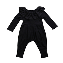 Cute Baby Girl Clothes Newborn Infant Baby Girl Black Ruffle Collar Long Sleeve Romper Clothes Outfits Baby Autumn Spring Romper(China)