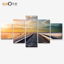 canvas painting Art Pictures Roads great trains HD Modern Home Decor quadro  wall art  oil painting 5 piece canvas art