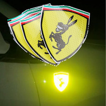 Car Badge Decal Reflective Sticker For Ferrari Donkey Logo Emblem For BMW Audi Toyota VW Kia Mercedes Lada VW Mazda Ford Mustang(China)