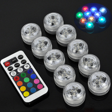 10pcs Submersible Remote Control LED Candle lights underwater electric Flashing Floral Tea Lights lamp Wedding home Decoration