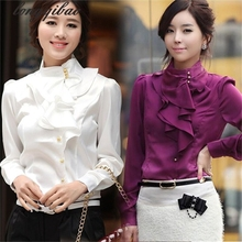 Buy new fashion lace lotus leaf edge women's long-sleeved shirt chiffon shirt Ms. long-sleeved white shirt TB709 for $16.39 in AliExpress store