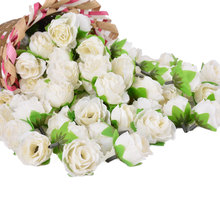 Hoomall Brand Rose Silk Flower Heads DIY Decorative Flower Party Wedding Decoration Artificial Flowers Handmade Flowers 50PCs(China)