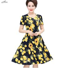 OKXGNZ 2017 Summer Women Dress Middle-aged and old Printing Clothing Clothes Plus-size Mother installed Milk silk Dress Female