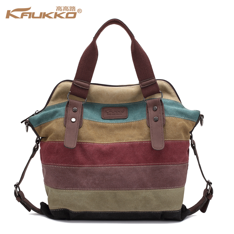 KAUKKO Casual Canvas Bag Tote Striped Womens Big Handbags Patchwork Shoulder Bag School Messenger New Fashion Sac A Home Casual<br>