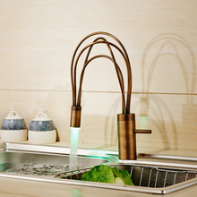 Wholesale and Retail LED Light Brass Kitchen Sink Faucet Single Lever Single Hole Taps Antique Brass Deck Mount