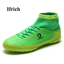 Ifrich Men Kids Football Boots High Ankle Soccer Shoes Green Blue Turf Cleats Boys Cheap Trainers - Shecher Store store