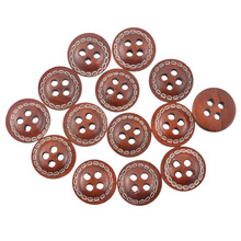 Hoomall 100PCs Dark Brown 4 Holes Wooden Button Scrapbook Sewing Accessories DIY Craft Decorative Buttons For Handmade 12mm