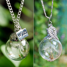 Unisex Dandelion Seed In Glass Make A Wish Pendant Leaf Sweater Chain Necklace