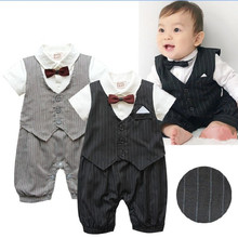 Newborn Baby Boy Clothes Gentleman Style Clothing Kids Summer Short-Sleeved Boys Tuxedo Black Gray Bow Tie Striped Romper