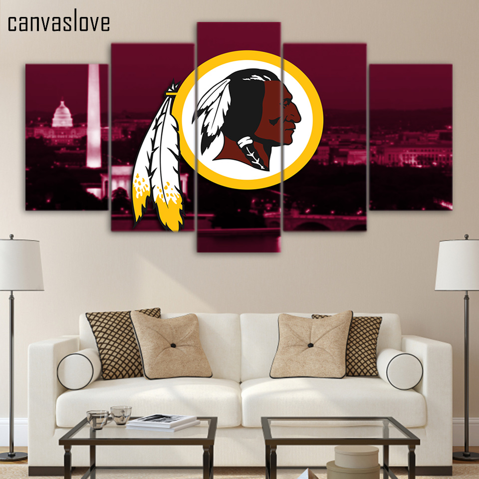 HD printed 5 piece canvas art washington redskins rugby NFL logo wall pictures for living room posters free shipping/UP-1542A(China (Mainland))