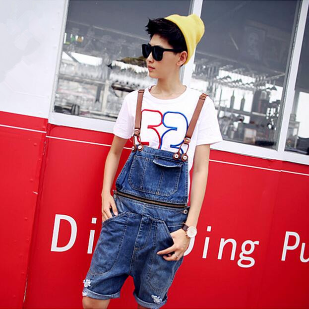 Denim Overall Shorts Men 2017 Spring &amp; Summer New Fashion Mens Bib Jeans Ripped Denim Shorts With Suspenders Free ShippingОдежда и ак�е��уары<br><br><br>Aliexpress