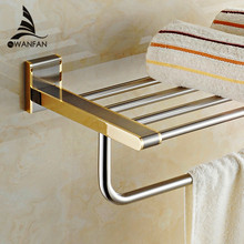 Modern Bathroom Accessories Square Corners Solid Double Tiers Fashion Stainless Steel Towel Holder Towel Rack Towel Bar 1612