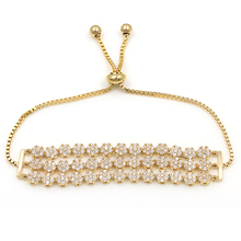 Sparkling 3 Row Cake Shape Cubic Zirconia Adjustable CZ Zircon Bracelets for Women