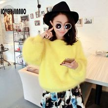 winter new plush velvet mink mink cashmere sweater wholesale BianFuShan Lantern Sleeve Free Shipping JN331(China)