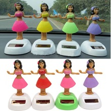 4pcs/set Solar Powered Dancing Hula Girl Swinging Bobble Toy Gift For Car Decoration Novelty Happy Dancing Solar Girls Toys