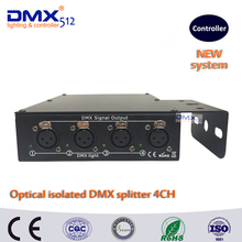 DHL Free shipping 100% Optical isolated DMX splitter 4 way dmx splitter for stage light(China)