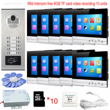 "Intercom 10 Buttons Rfid Camera Home Video Door Phone+8GB TF Memory Card Vieo Recording Touch Key 7"" Color 10 Indoor Monitors(China)"