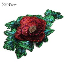 DIY Red Rose Green Flower Sequined Tulle Patch Embroidered Applique Sew on Cloth for Garment Clothes Dress Bags Accessory(China)