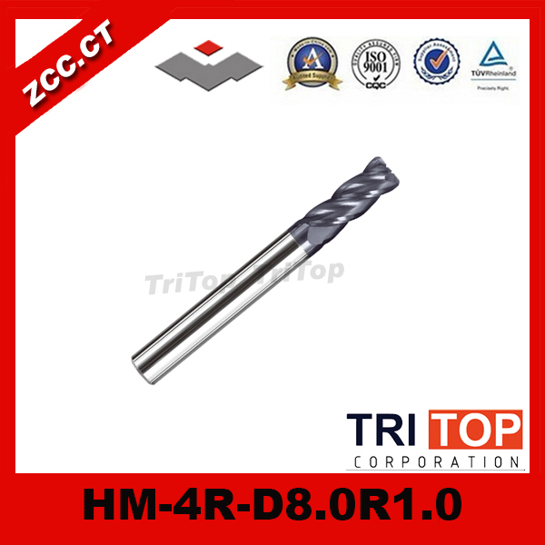 high-hardness steel machining series  ZCC.CT HM/HMX-4R-D8.0R1.0 Solid carbide 4 flute Radius end mills with straight shank<br>